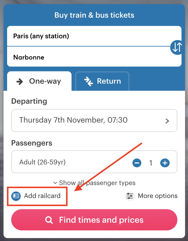 Search box with railcard option highlighted.