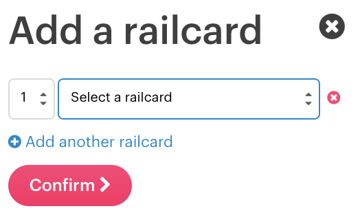 View of railcard selection box.
