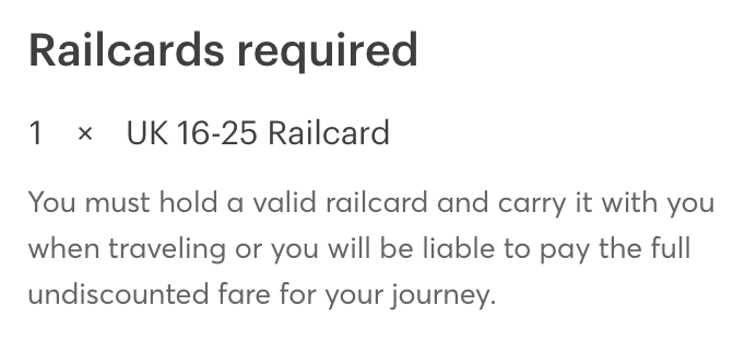 Example of railcard confirmation in booking