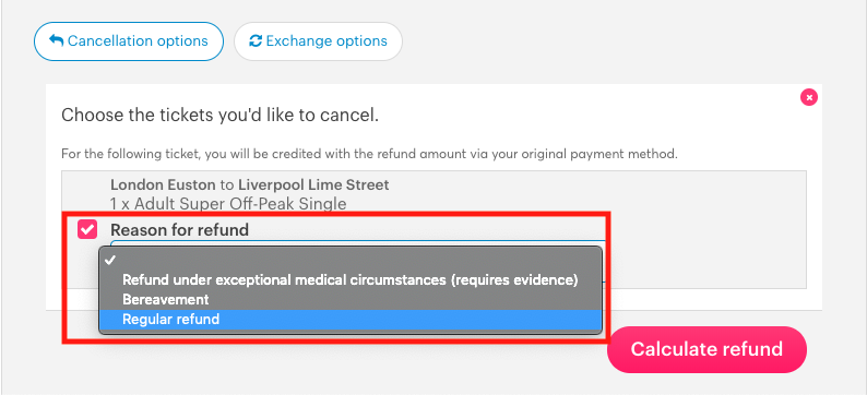Image of the refund options for UK tickets