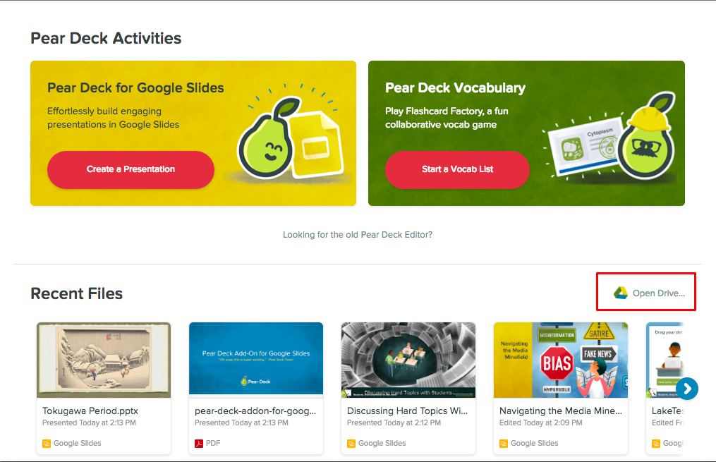 can i present another type of file pear deck knowledge base