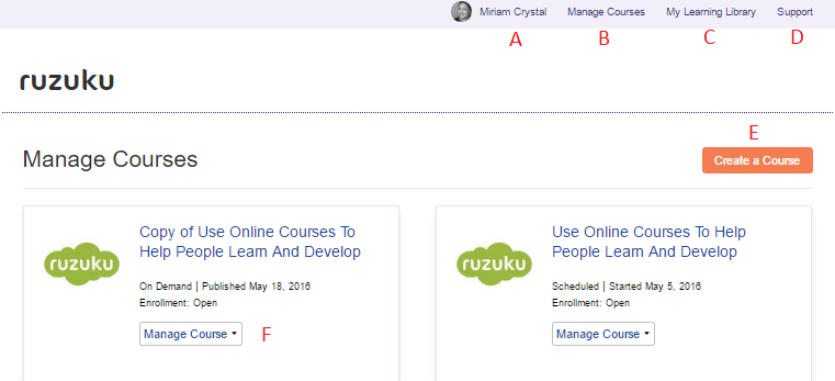 Overview: Account set-up for guides - Ruzuku Knowledge Archive