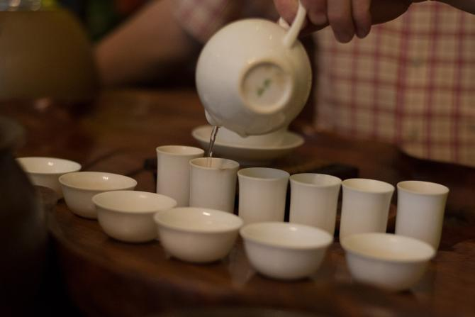 Eco-Cha brewing up tea in a tea judging tea set