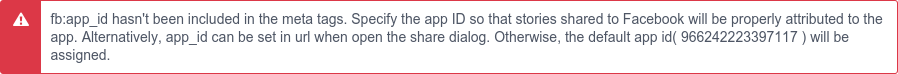 A screenshot of an older version of the 'missing app_id' warning in the Facebook Debugger.