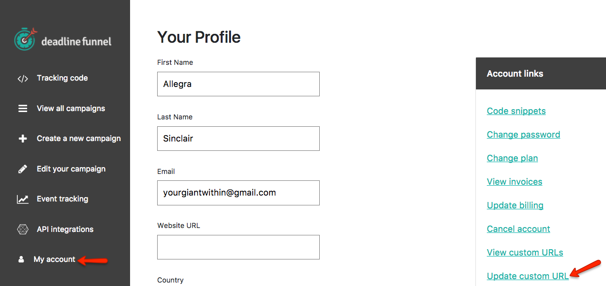 How to Use Custom Email Link URLs - Deadline Funnel