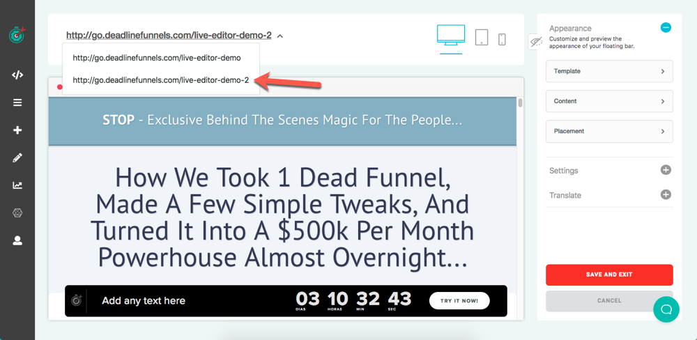 How to Customize the Floating Bar - Deadline Funnel