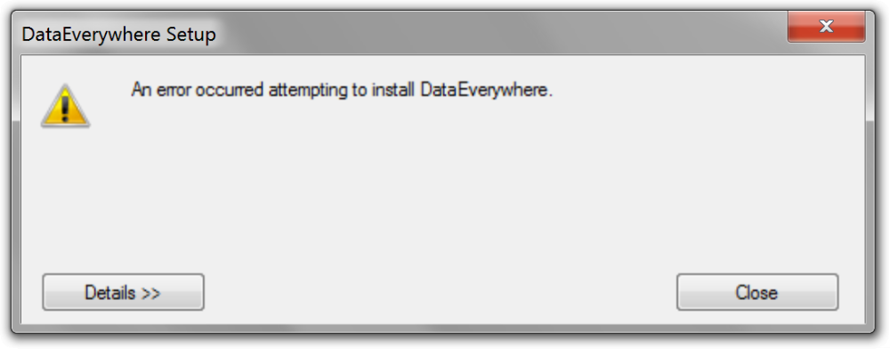 Error: An error occurred attempting to install DataEverywhere 1