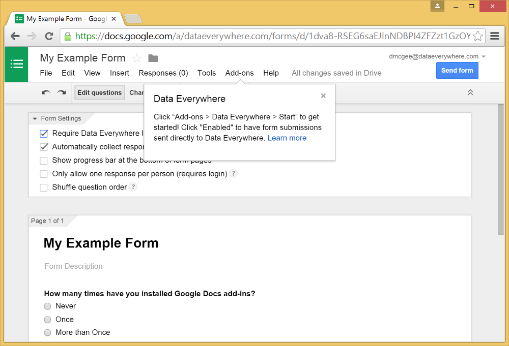 Installing the Google Forms Add-On 3