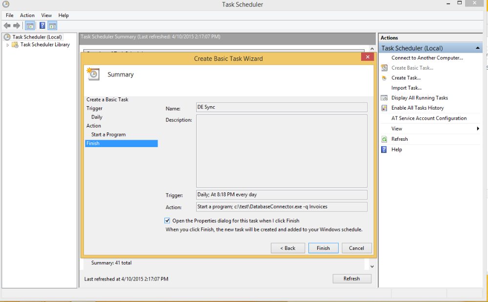 Scheduling The Database Connector on Windows 6