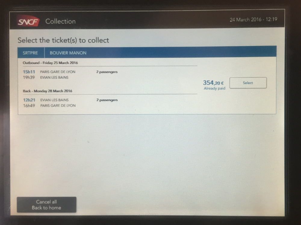 How do i print my ticket at a french sncf station trainline to print them all at the same time even if they are for a train departing within a few days or weeks there is no date limitation for printing tickets sciox Image collections