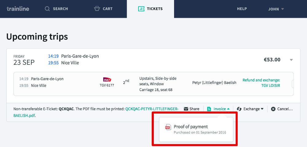 where do i find an invoice for my ticket trainline help faq