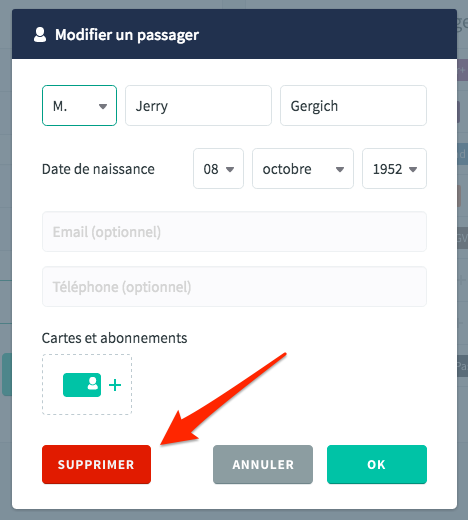 Supprimer un passager Trainline Europe