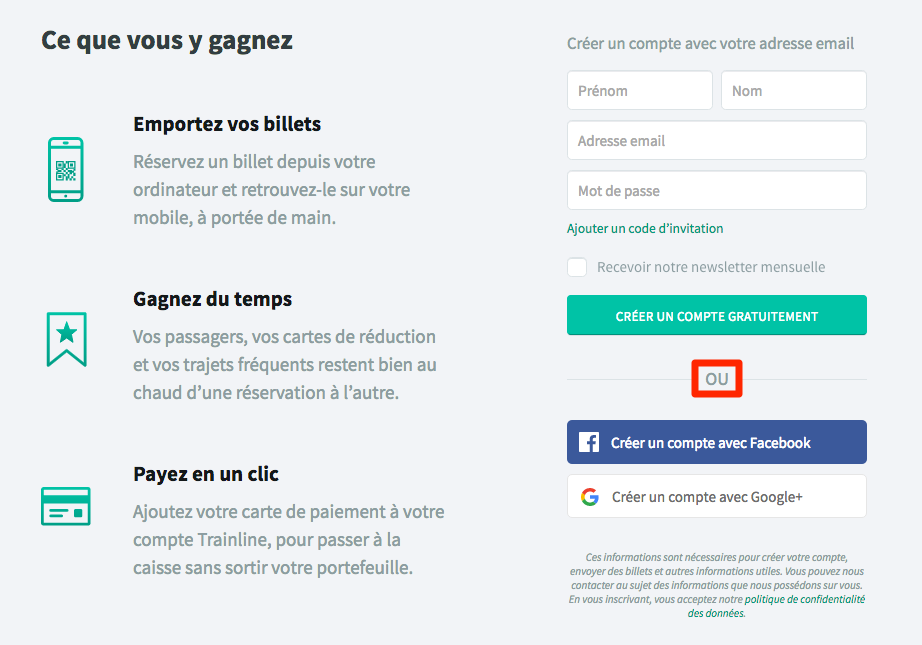 Inscription Trainline Europe via Facebook, Google ou par e-mail