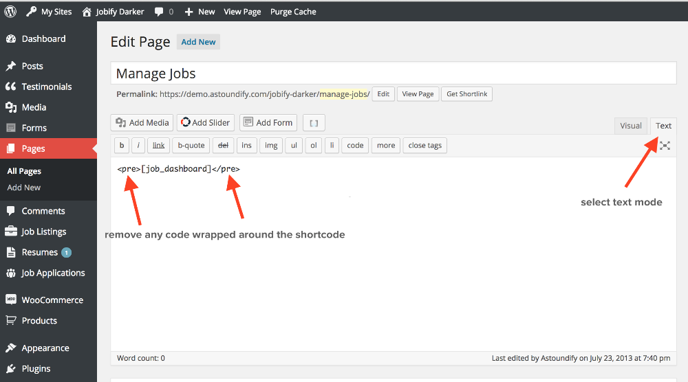 job manager wordpress plugin shortcodes
