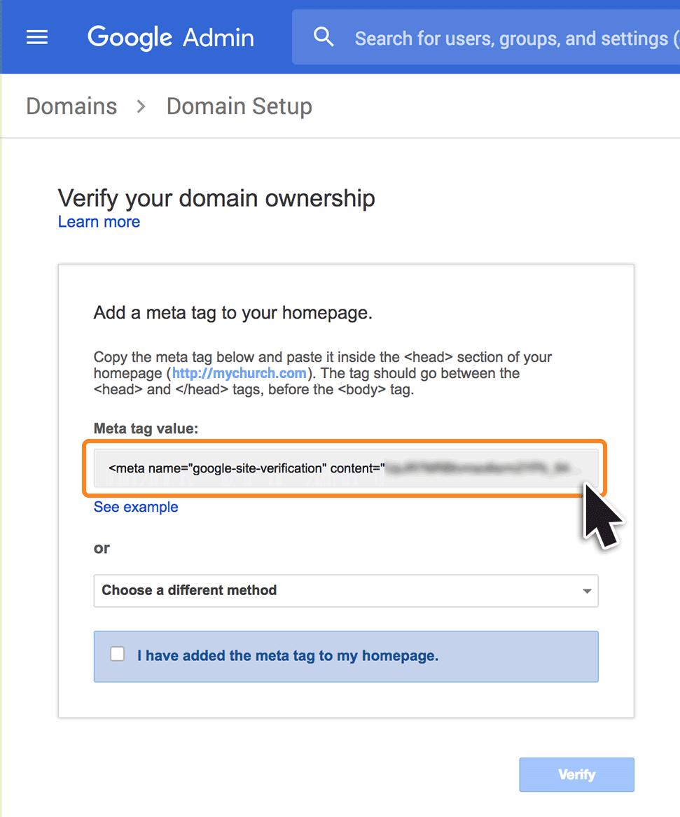 Domain verification using a Meta Tag - eCatholic Help Center