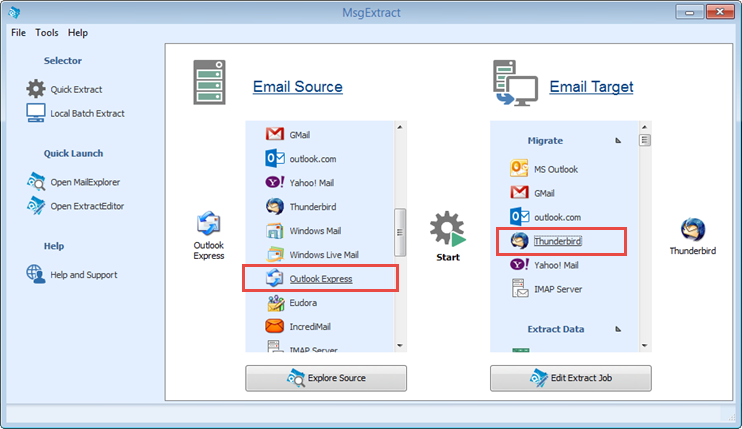 Migrate email messages from Outlook Express to Thunderbird