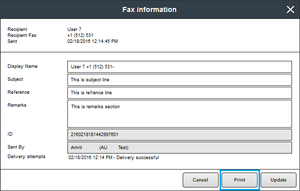 how to print a confirmation page sfax