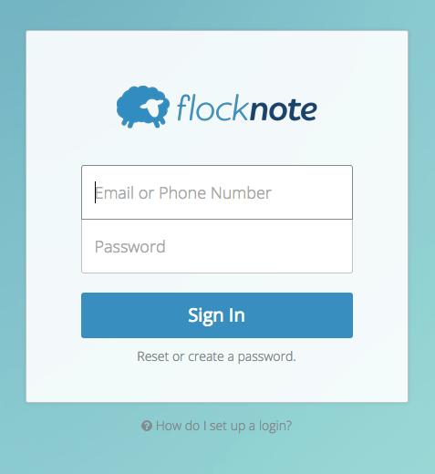 how do i setup a login flocknote help