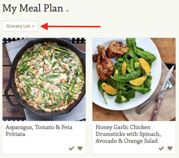 How to share recipes grocery list meal plans mealime mealime please log in to the web app and open the grocery list by clicking grocery list on the meal plan screen forumfinder Image collections