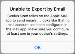 Genius Scan is telling me my email isn't configured, but it