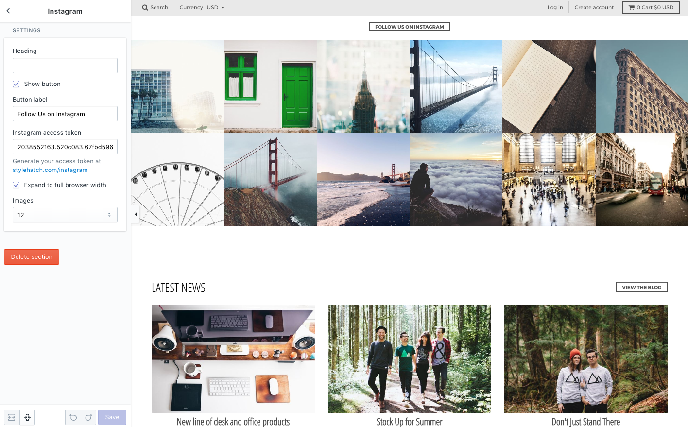 Feed Instagram: Shopify Premium Theme Support