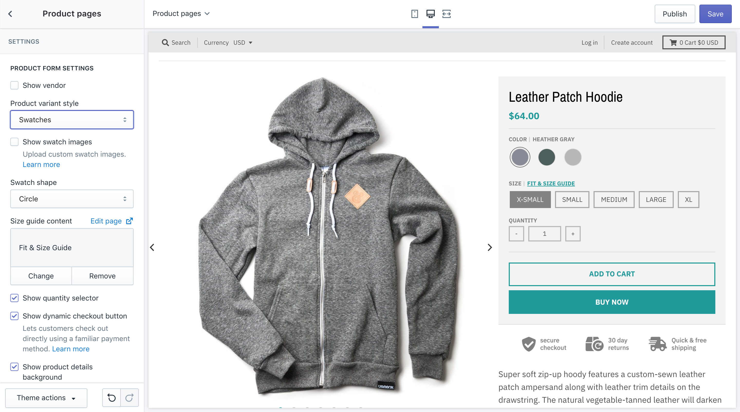 Product Color Swatches - Shopify Premium Theme Support