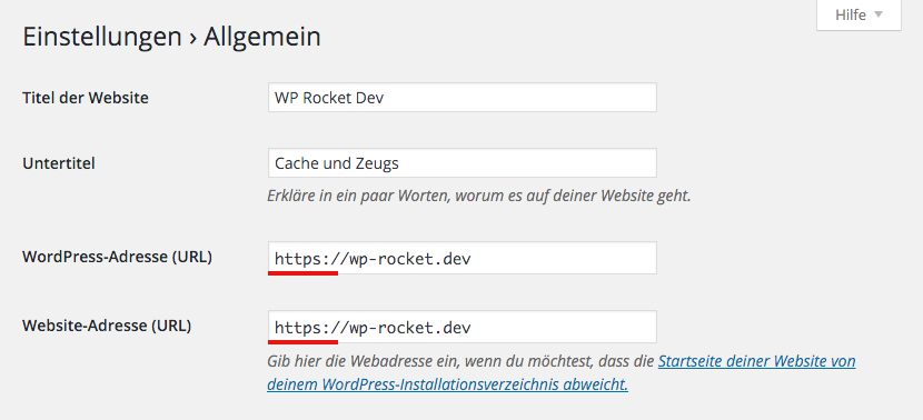 Website-Einstellungen in WordPress