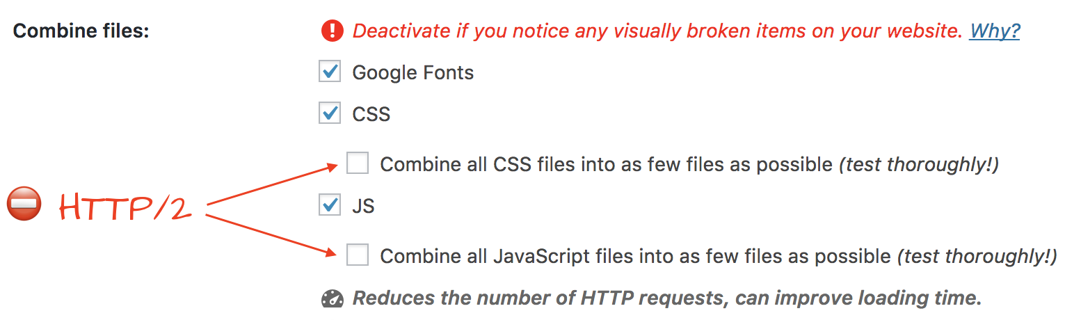 "Deactivated options of ""Combine all CSS/JS files into as few files as possible"""