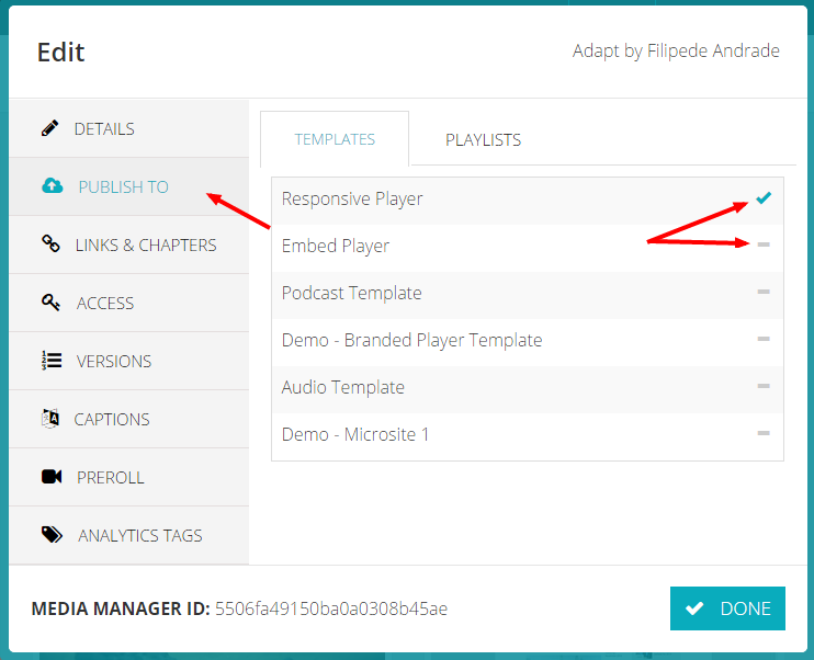 publishing to a template media manager support