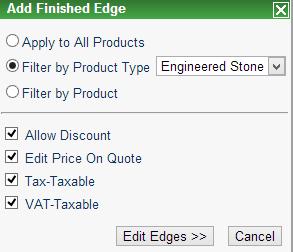 Define different edge pricing - Moraware CounterGo