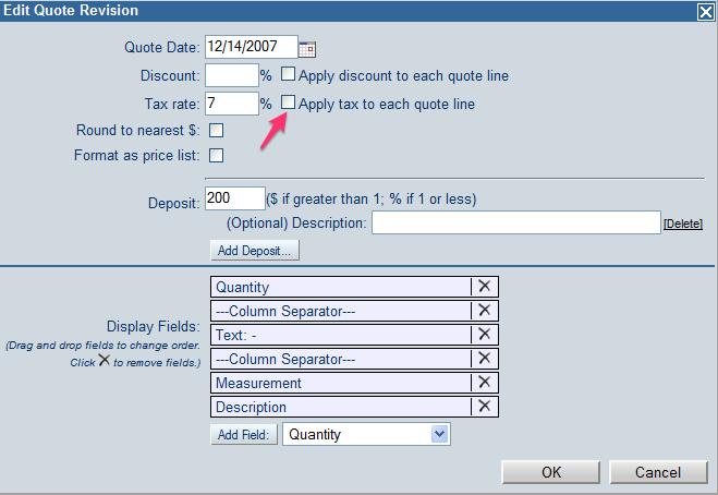 Apply Sales Tax on Line Item or Subtotal Area - JobTracker
