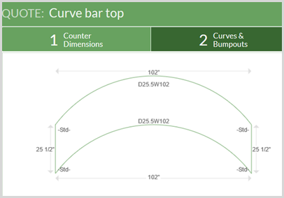 curved bar top
