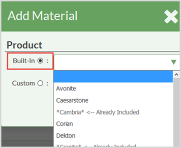 Built In Material List