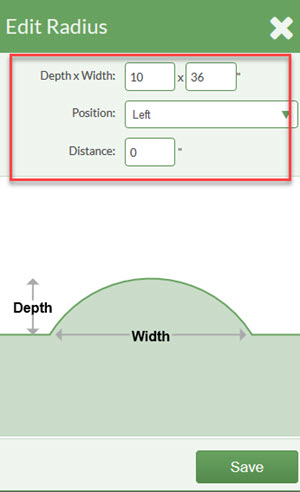 select depth and width and side