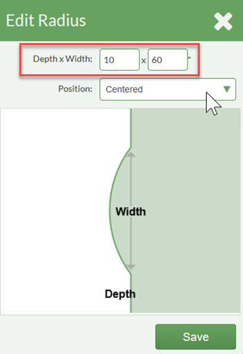enter depth and width