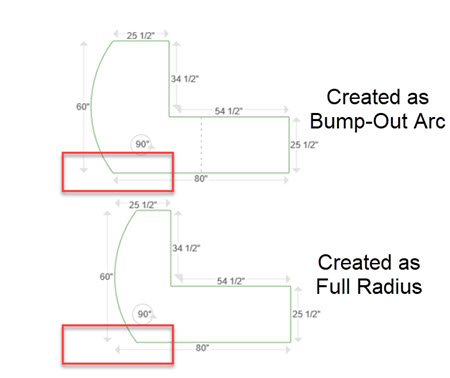 bump out arc or full radius