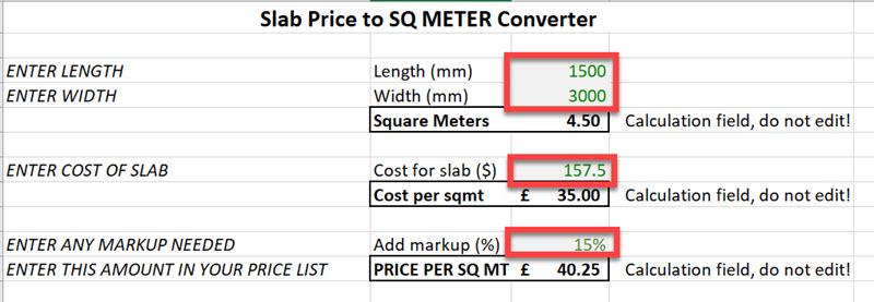 Converting slab cost to square meter price - Moraware
