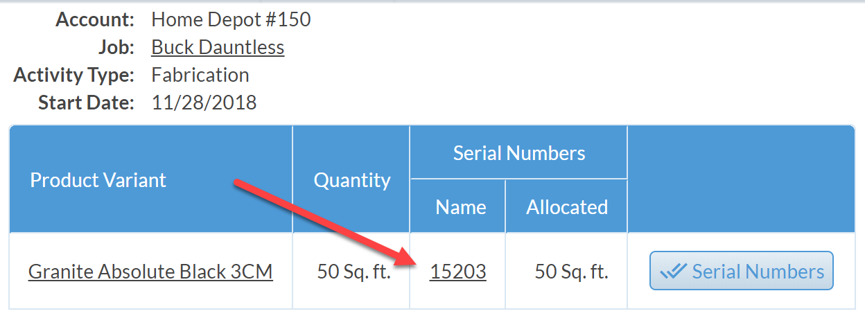click on serial number from allocation view