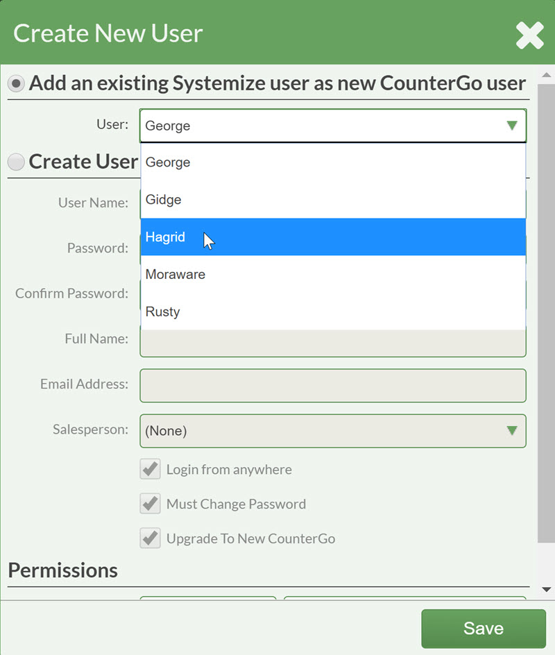 Selecting Systemize User