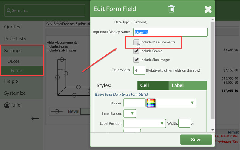 edit forms, remove measurements