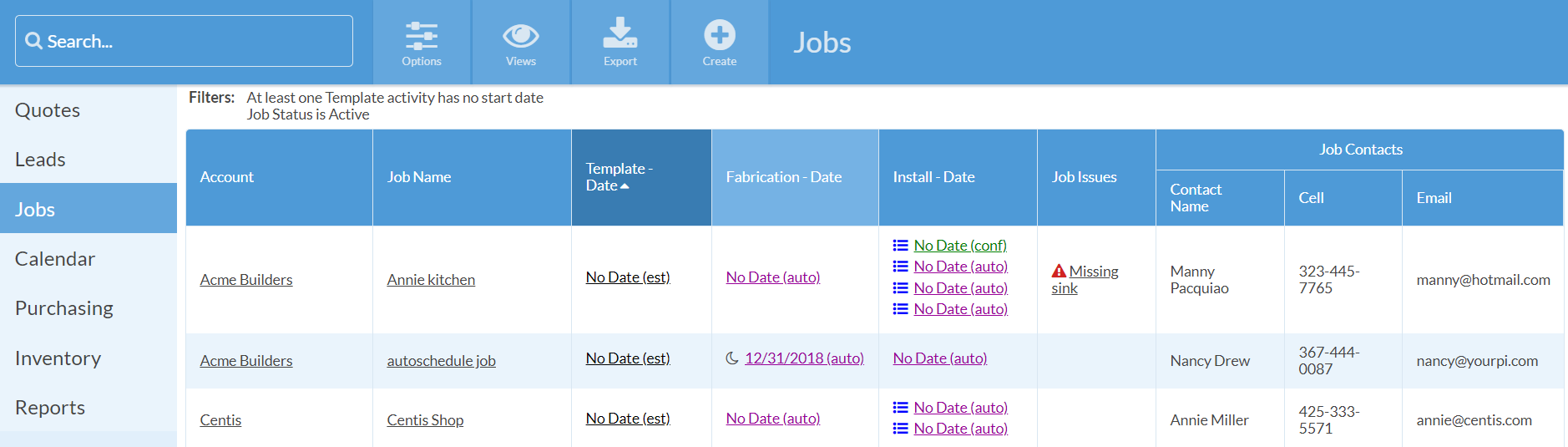 Job View of non-scheduled templates