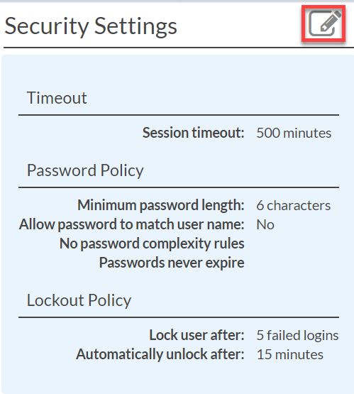 Systemize security settings