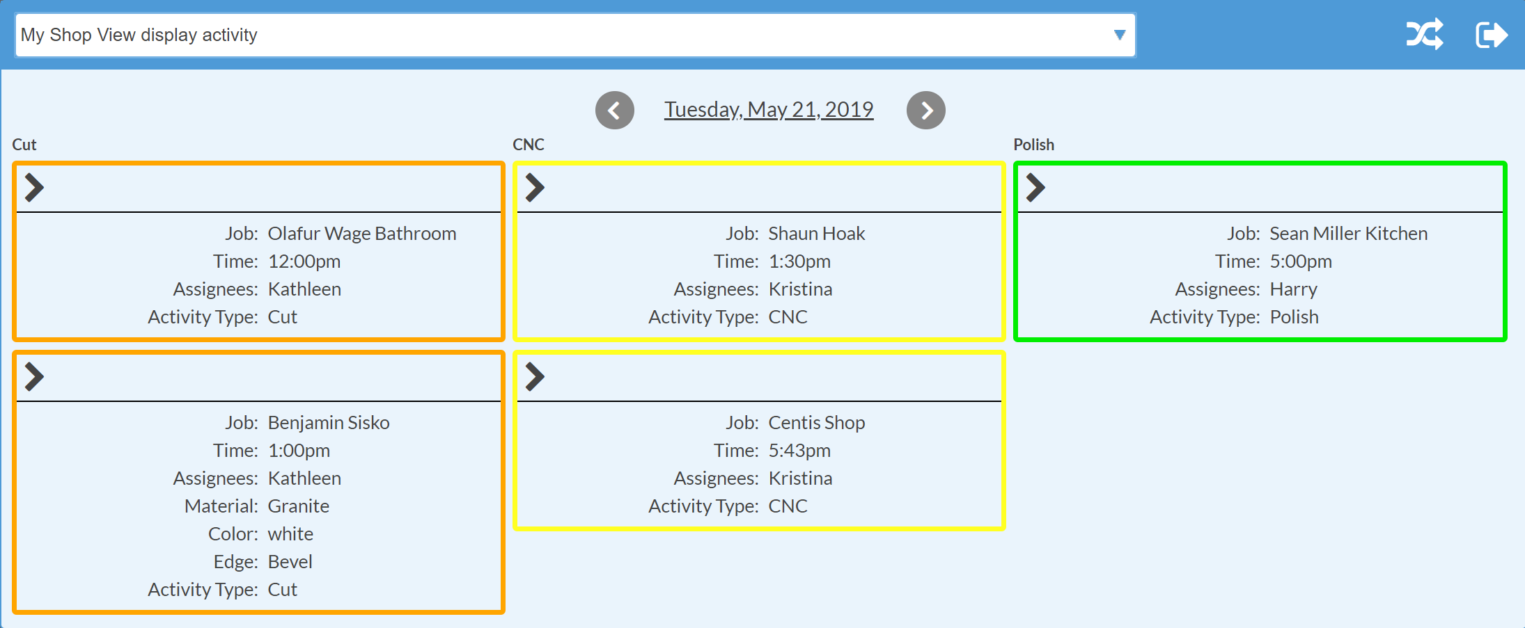 Shop View: Display Columns by Activity Type