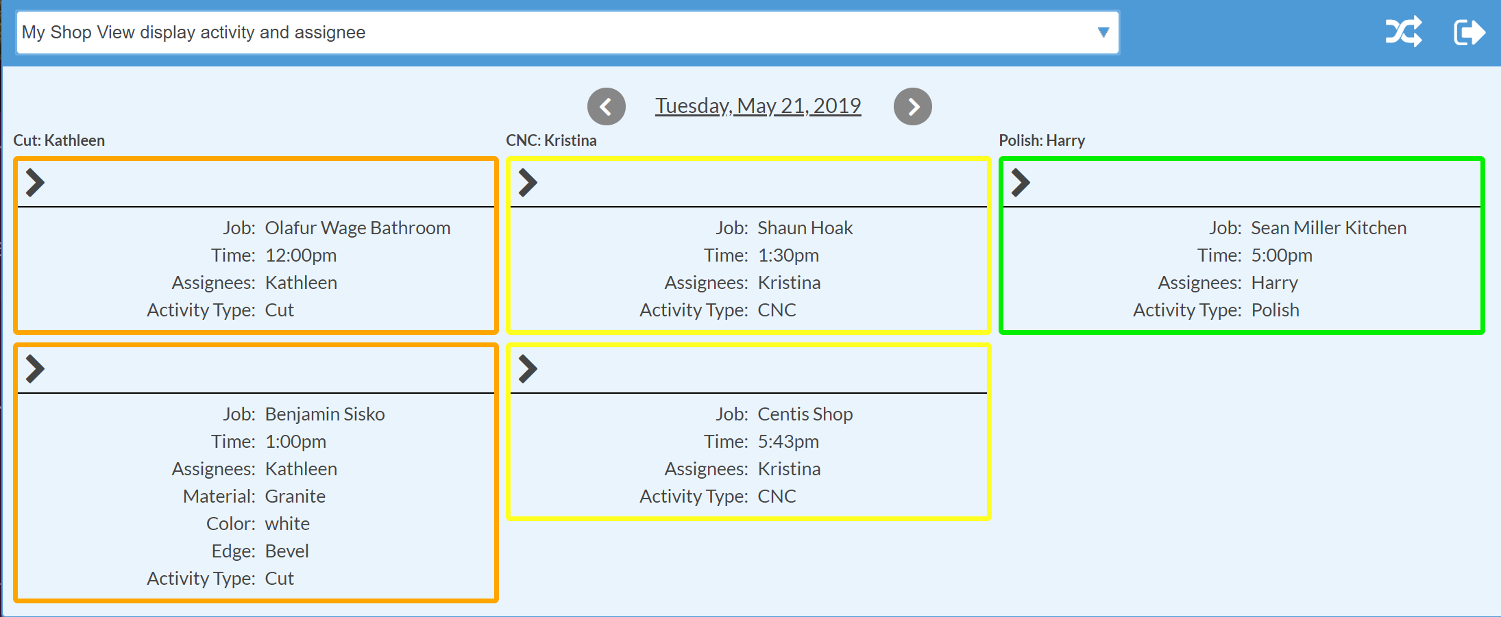 Shop View: Display Columns by Activity Type and Assignee