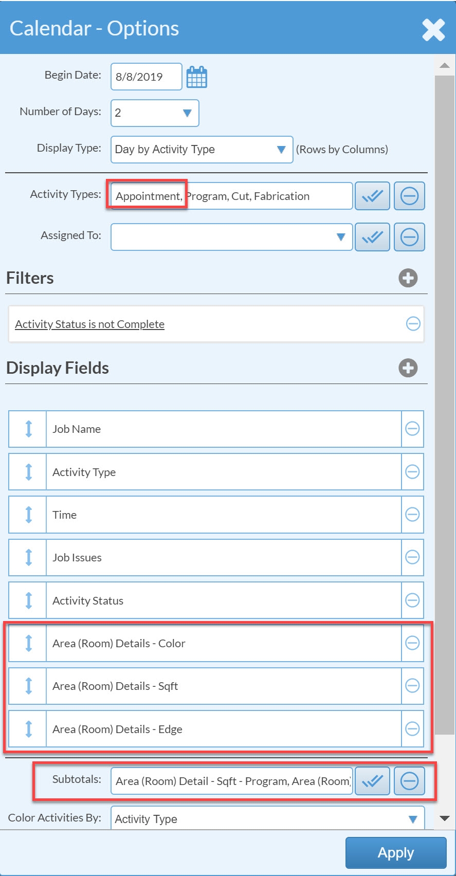 Edit display fields in calendar options