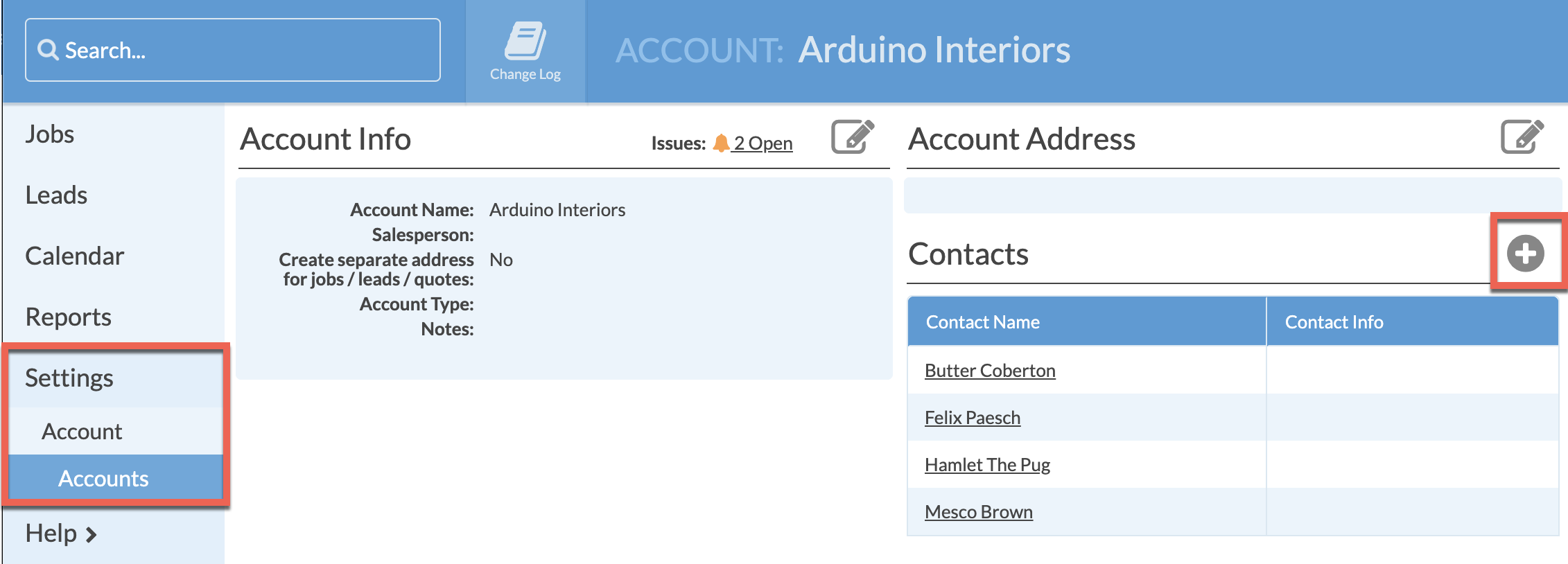 Add contacts to Account page