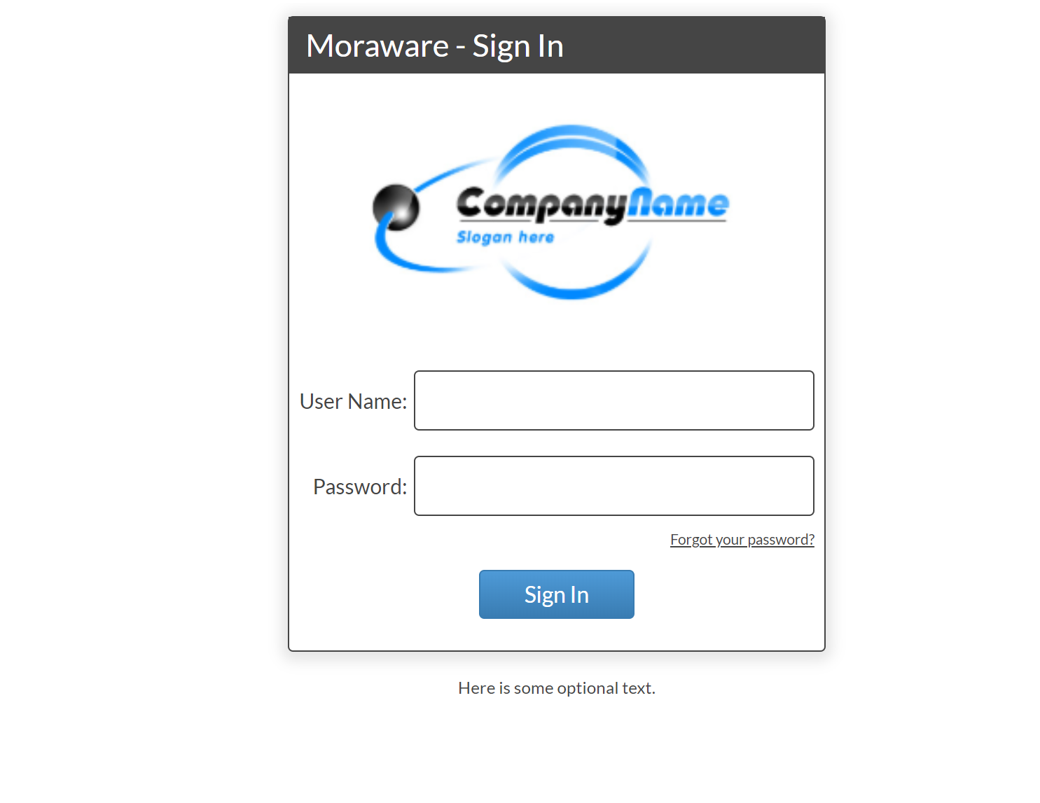login page example with logo