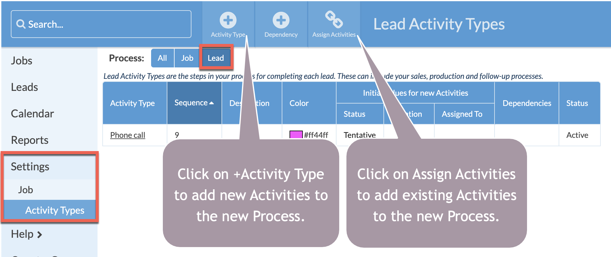 add or create lead activity types