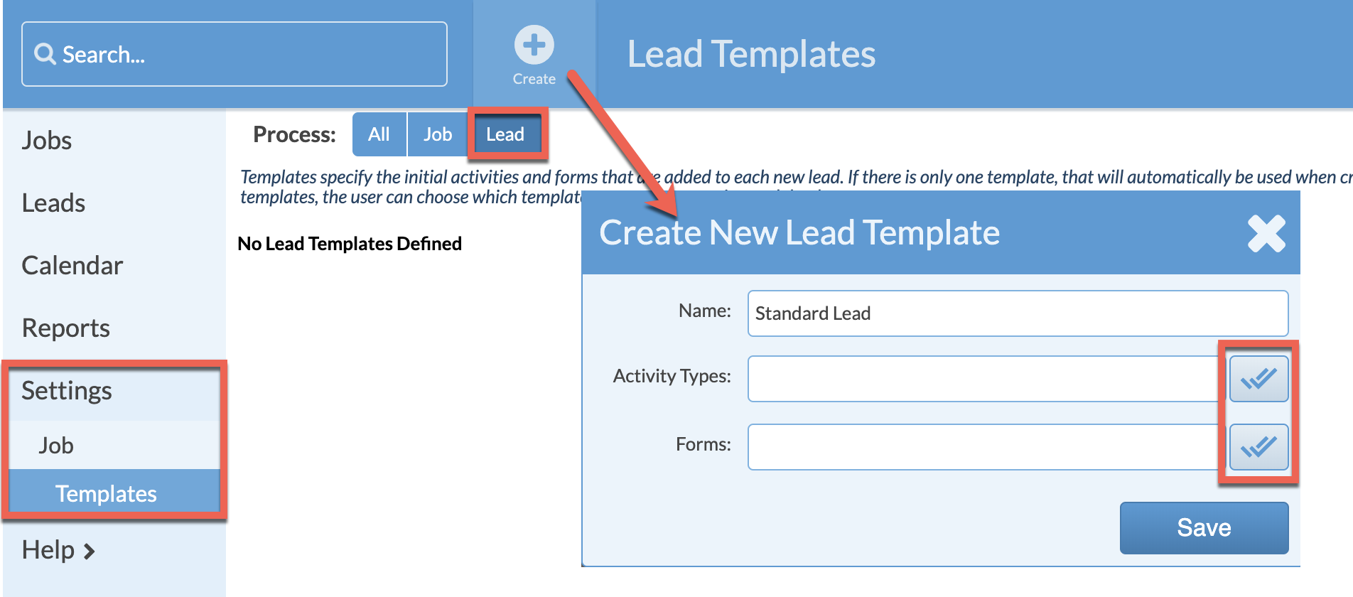 create a lead template
