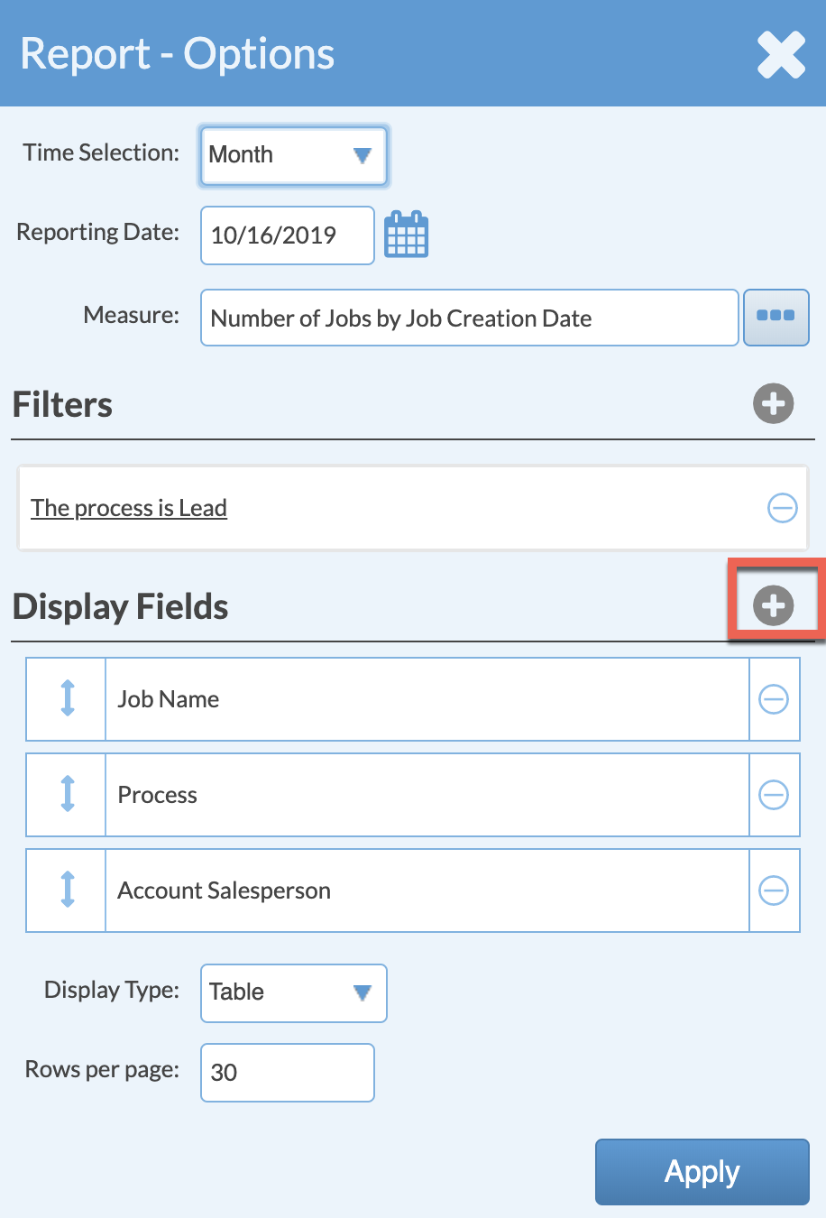 add display fields to lead report